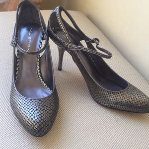 VIA SPIGA gray NEW leather shoes silver heel 10.5